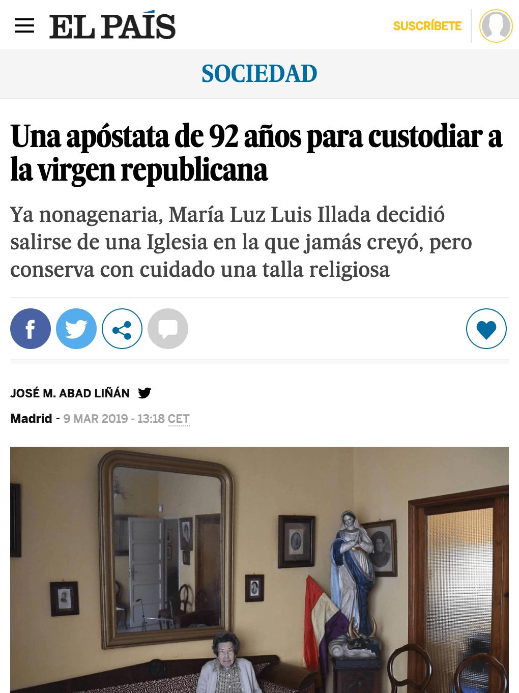 Una apóstata de 92 años para custodiar a la virgen republicana