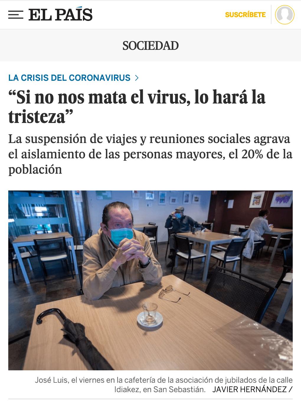 """""""Si no nos mata el virus, lo hará la tristeza"""""""
