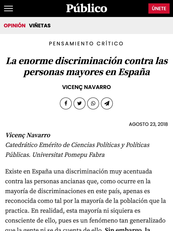 La enorme discriminación contra las personas mayores en España