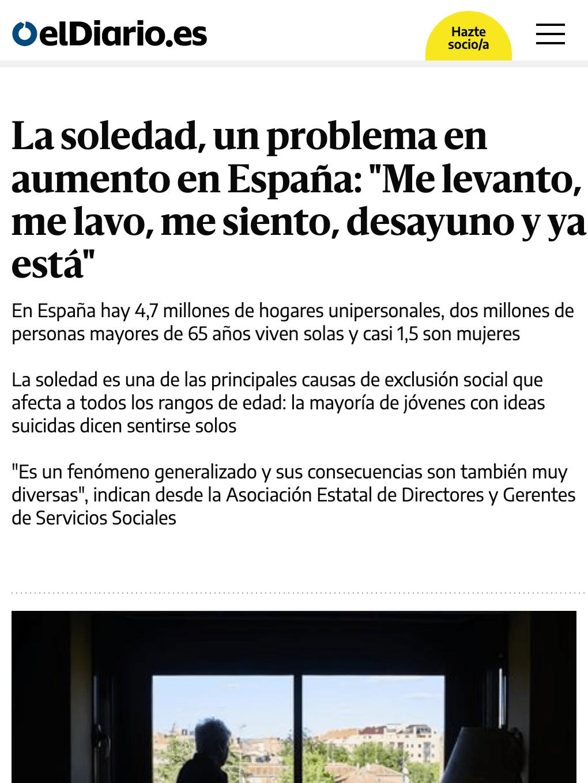 """La soledad, un problema en aumento en España: """"Me levanto, me lavo, me siento, desayuno y ya está"""""""